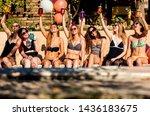 group of girlfriends at a...   Shutterstock . vector #1436183675