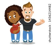 joyful bearded young man... | Shutterstock .eps vector #1436214482