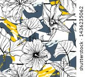 tropical  stripe  animal motif. ... | Shutterstock .eps vector #1436235062