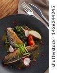 fried mackerel fish with...   Shutterstock . vector #1436244245