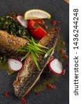 mouthwatering roasted mackerel...   Shutterstock . vector #1436244248