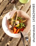 fried mackerel fish with...   Shutterstock . vector #1436244485