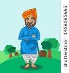 indian sardar ji cartoon... | Shutterstock .eps vector #1436265665