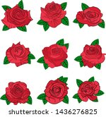 flowers roses  red buds and... | Shutterstock .eps vector #1436276825