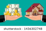 hand scales with private house... | Shutterstock .eps vector #1436302748