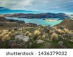 Christchurch port hills scenic landscape view over Lyttleton towards banks peninsula, Wide vast landscape in New Zealand.