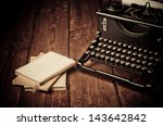 vintage typewriter and old... | Shutterstock . vector #143642842