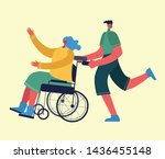 disabled woman with friend ... | Shutterstock .eps vector #1436455148
