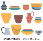 dishware set  colorful plate... | Shutterstock .eps vector #1436458112