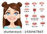 cute brunette girl talking... | Shutterstock .eps vector #1436467865