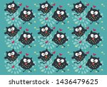 pattern with cartoon owls on a... | Shutterstock .eps vector #1436479625