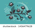 cartoons owls are sitting on a... | Shutterstock .eps vector #1436479628