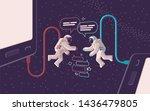 two astronauts communicate in... | Shutterstock . vector #1436479805