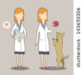 two cute cartoon veterinarian... | Shutterstock .eps vector #143650306