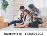happy asian family in new hose.   Shutterstock . vector #1436508308