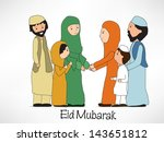 muslim families celebrating... | Shutterstock .eps vector #143651812