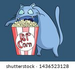 Hungry And Funny Popcorn Cat A...