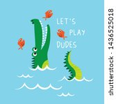 Cute Alligator Vector Drawn Fo...
