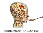 a glass head filled with many... | Shutterstock . vector #143654152