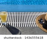 juice glass  straw hat and...   Shutterstock . vector #1436555618