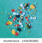 stop ocean plastic pollution.... | Shutterstock .eps vector #1436582882