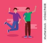 happy young men greeting... | Shutterstock .eps vector #1436619608