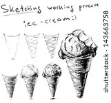 ice cream in cone. sketching... | Shutterstock . vector #143663758