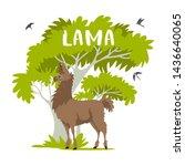 beautiful stylized cartoon lama ...   Shutterstock .eps vector #1436640065
