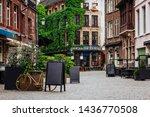 Old street of the historic city center of Antwerpen (Antwerp), Belgium. Cozy cityscape of Antwerp. Architecture and landmark of Antwerpen