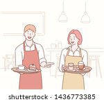 waiter and waitress serving... | Shutterstock .eps vector #1436773385