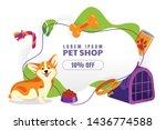 Stock vector pet shop discount sale poster banner design template vector cartoon illustration of welsh corgi 1436774588