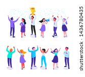 happy positive young people... | Shutterstock .eps vector #1436780435