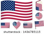 united states. usa flag wave ... | Shutterstock .eps vector #1436785115