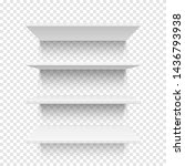 four white shelves. template... | Shutterstock .eps vector #1436793938