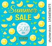 summer sale text on wooden... | Shutterstock .eps vector #1436856875