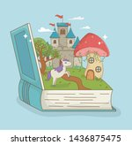 book open with fairytale castle ... | Shutterstock .eps vector #1436875475