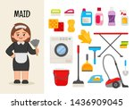 vector character maid.... | Shutterstock .eps vector #1436909045