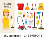 vector character cleaning lady. ... | Shutterstock .eps vector #1436909048