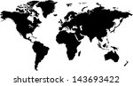 world map in silhouette | Shutterstock .eps vector #143693422