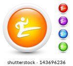 karate icons on round button... | Shutterstock .eps vector #143696236