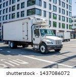 small compact rig semi truck... | Shutterstock . vector #1437086072