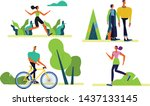 young people doing physical... | Shutterstock .eps vector #1437133145