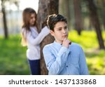 boy and girl playing hide and... | Shutterstock . vector #1437133868