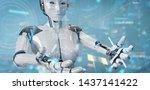 white humanoid robot on blurred ...
