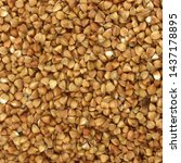 macro photo food buckwheat... | Shutterstock . vector #1437178895