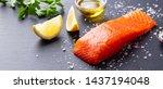 salmon fillet with sea salt ... | Shutterstock . vector #1437194048