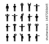 different poses stick figure... | Shutterstock .eps vector #1437203645