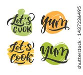 Cooking Set Lettering. Hand...