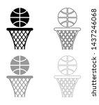 Basketball Basket And Ball...