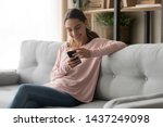 smiling young woman relax on... | Shutterstock . vector #1437249098
